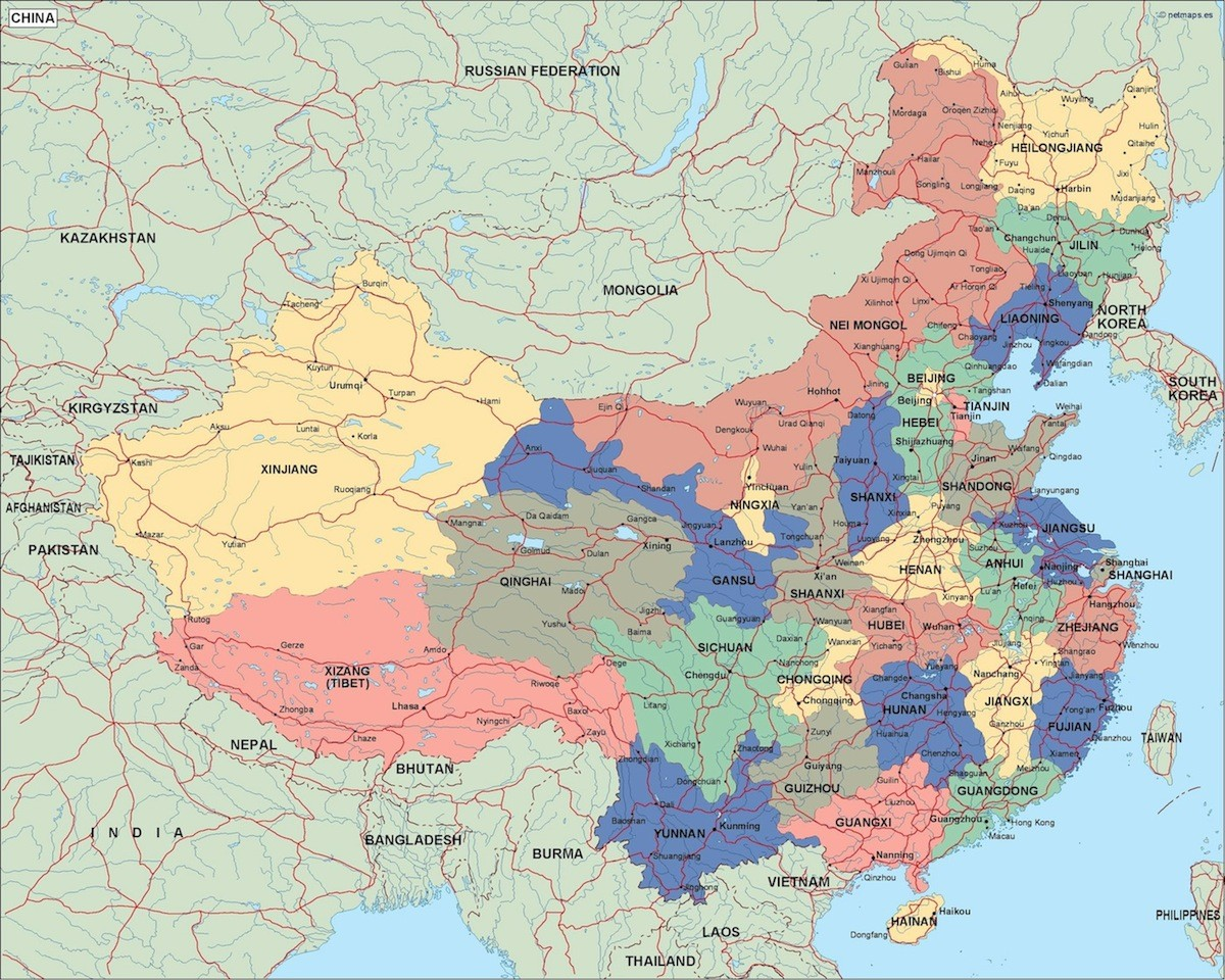 china political map. Eps Illustrator Map | A vector eps maps ...