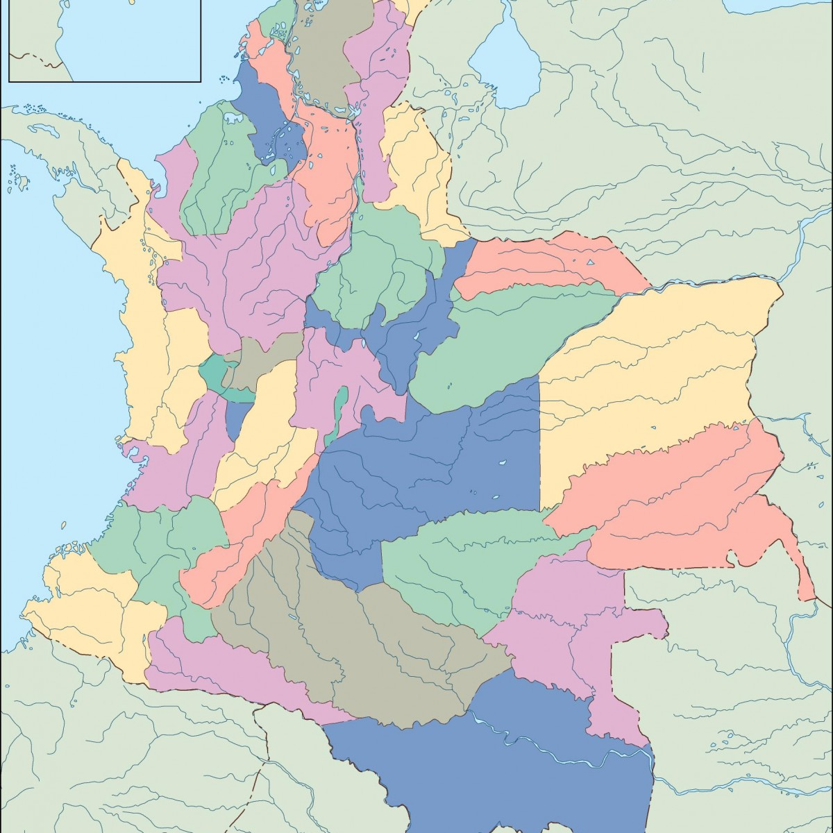 colombia blind map. Eps Illustrator Map | Vector World Maps