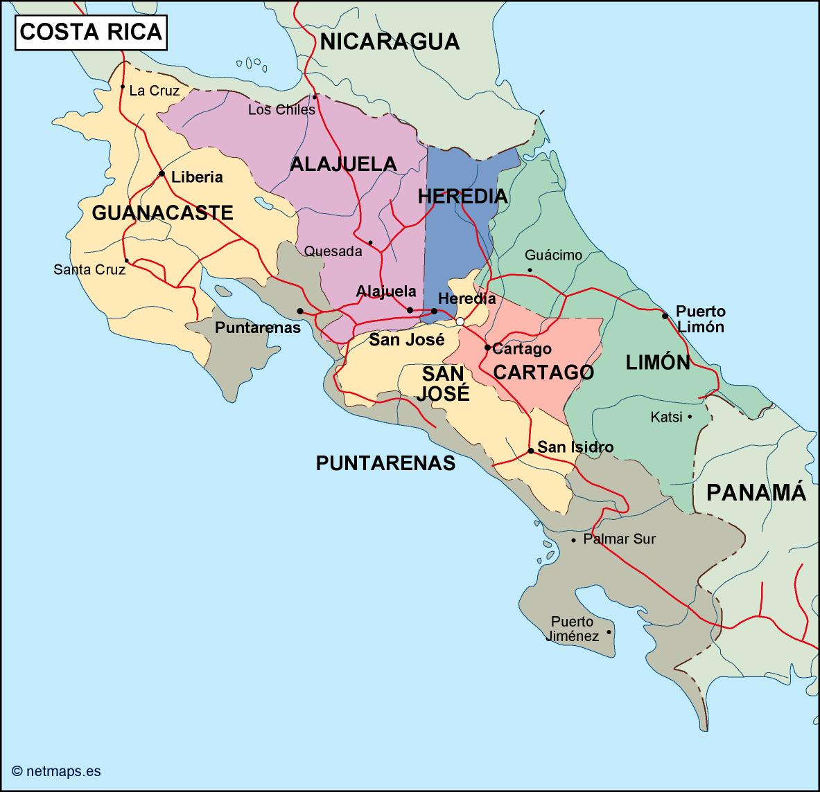 costa rica political map. Eps Illustrator Map | Vector World Maps