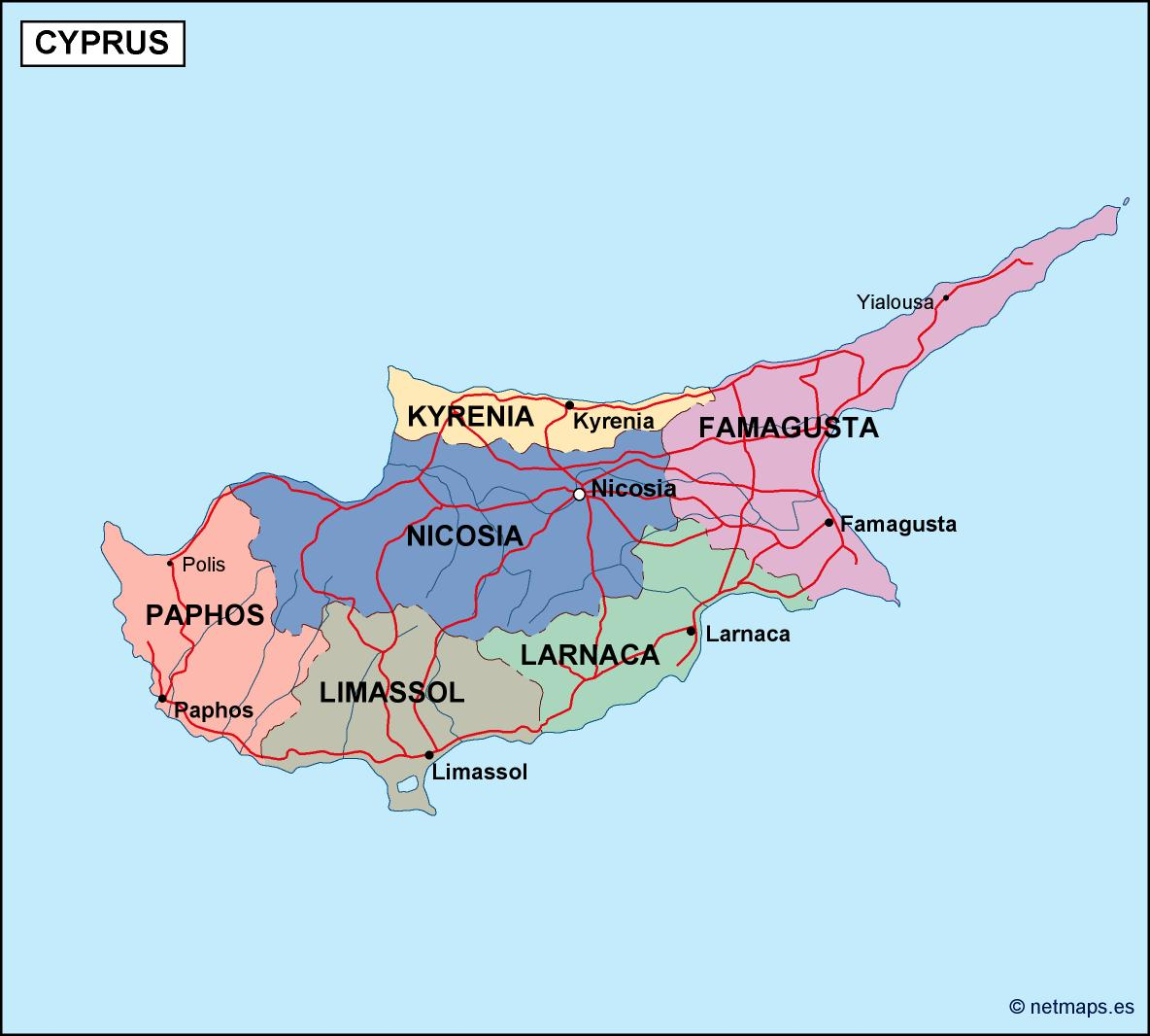 Cyprus political map illustrator vector eps maps eps illustrator cyprus political map gumiabroncs Gallery