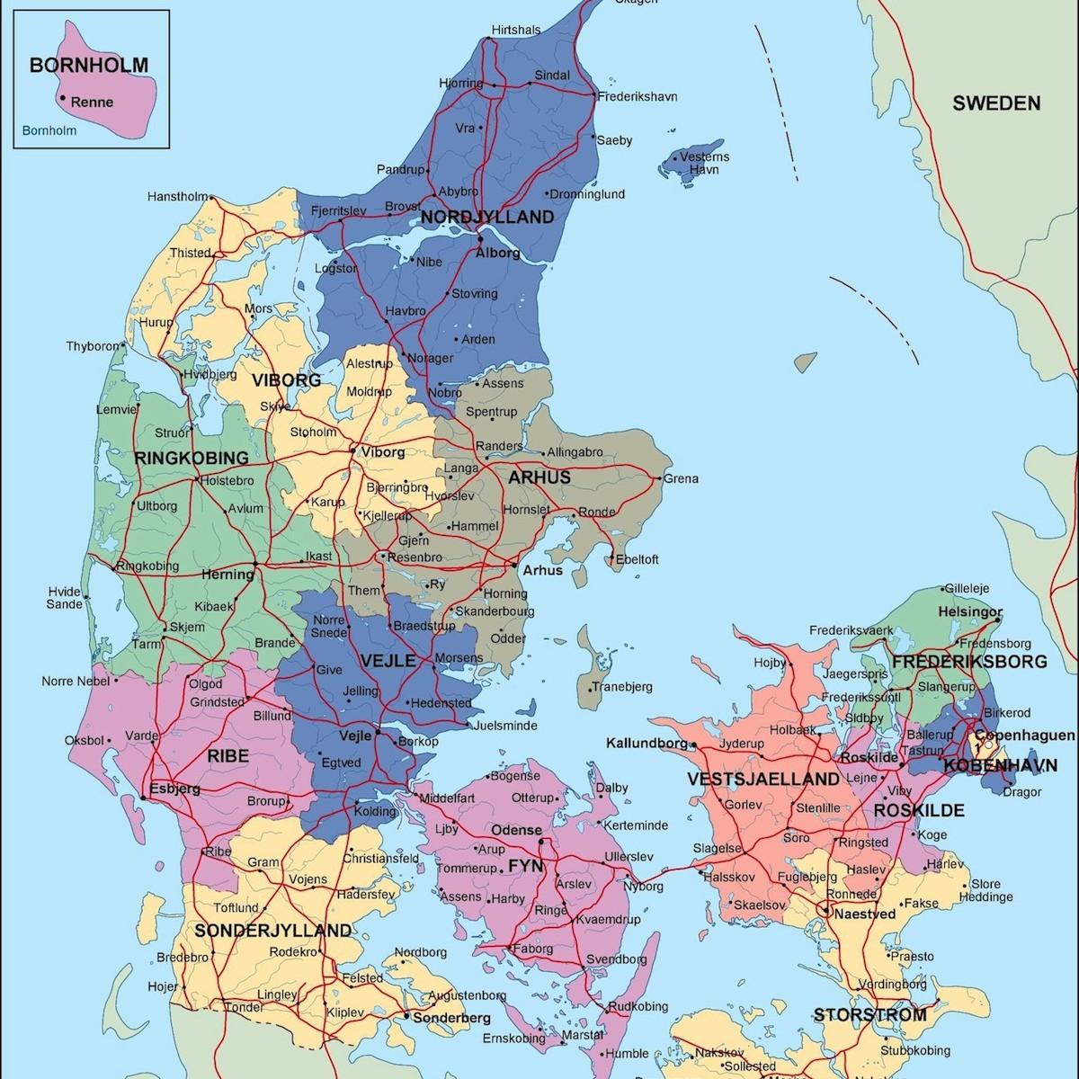 Find denmark political map illustrator vector eps maps eps denmark political map gumiabroncs Choice Image