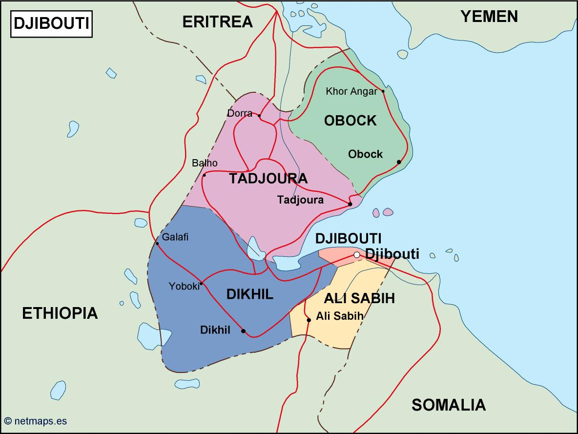 Djibouti Political Map Vector Eps Maps Eps Illustrator Map Our - Djibouti maps with countries