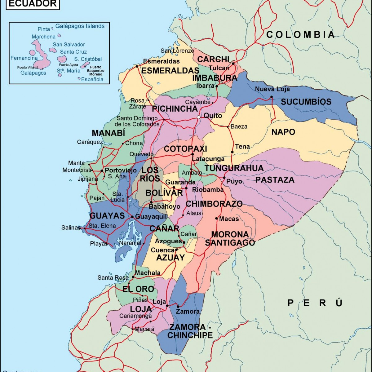 ecuador political map Eps Illustrator Map Our cartographers have