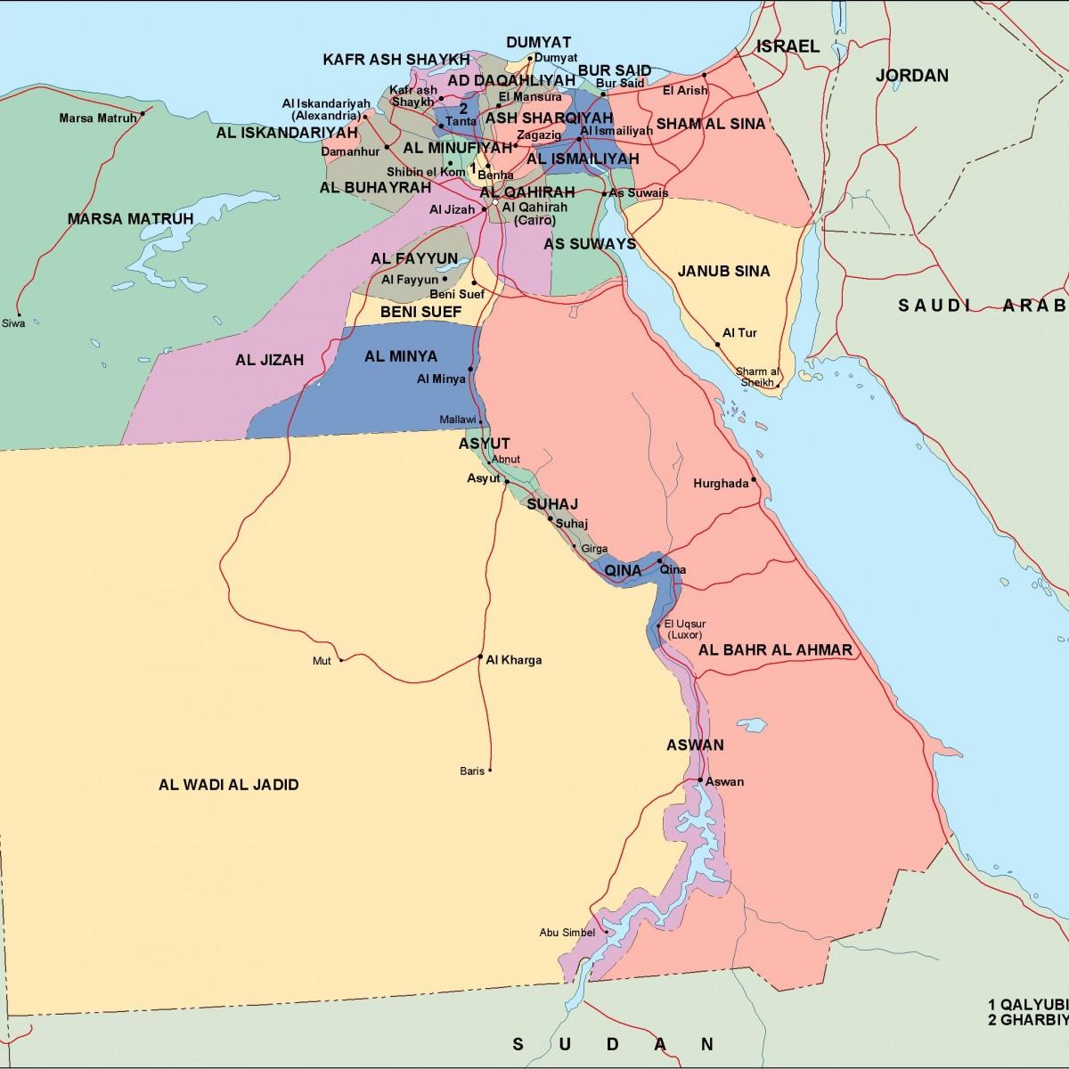 egypt political map. Vector Eps maps. Eps Illustrator Map | A vector ...