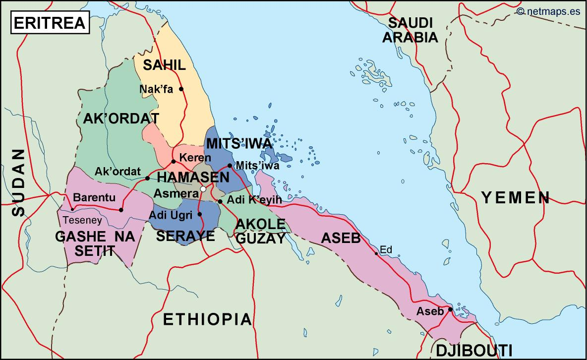 eritrea political map Vector Eps maps Eps Illustrator Map Our