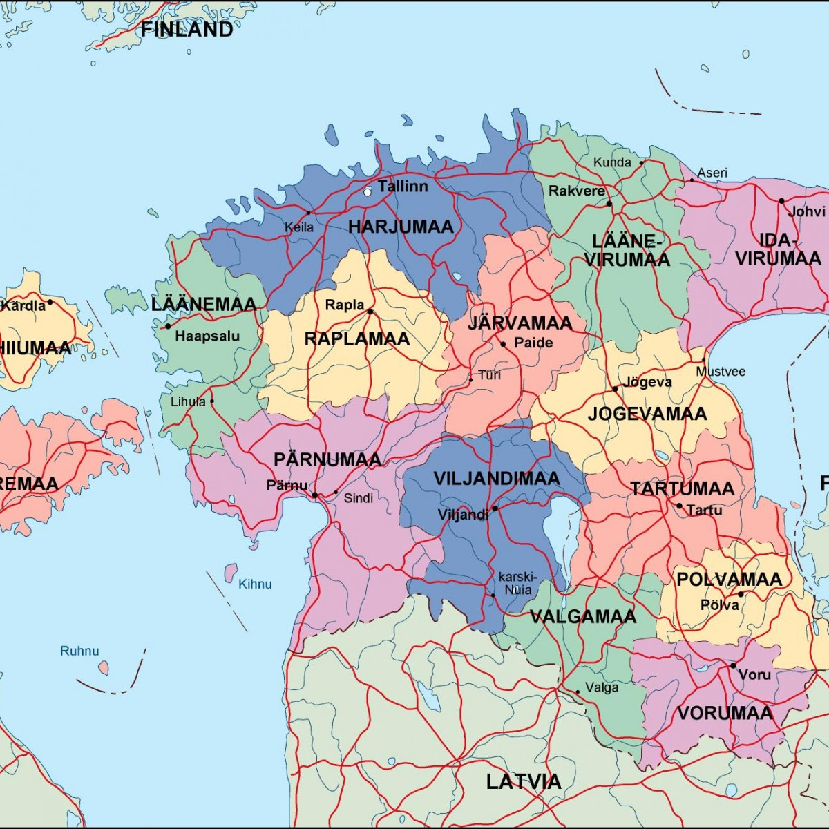 estonia political map Illustrator Vector Eps maps Eps Illustrator