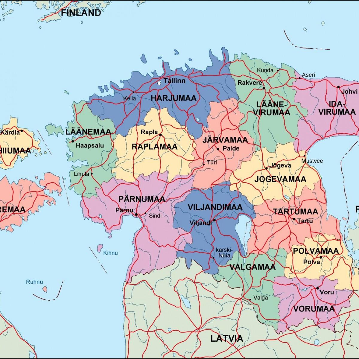 Estonia Political Map Illustrator Vector Eps Maps Eps