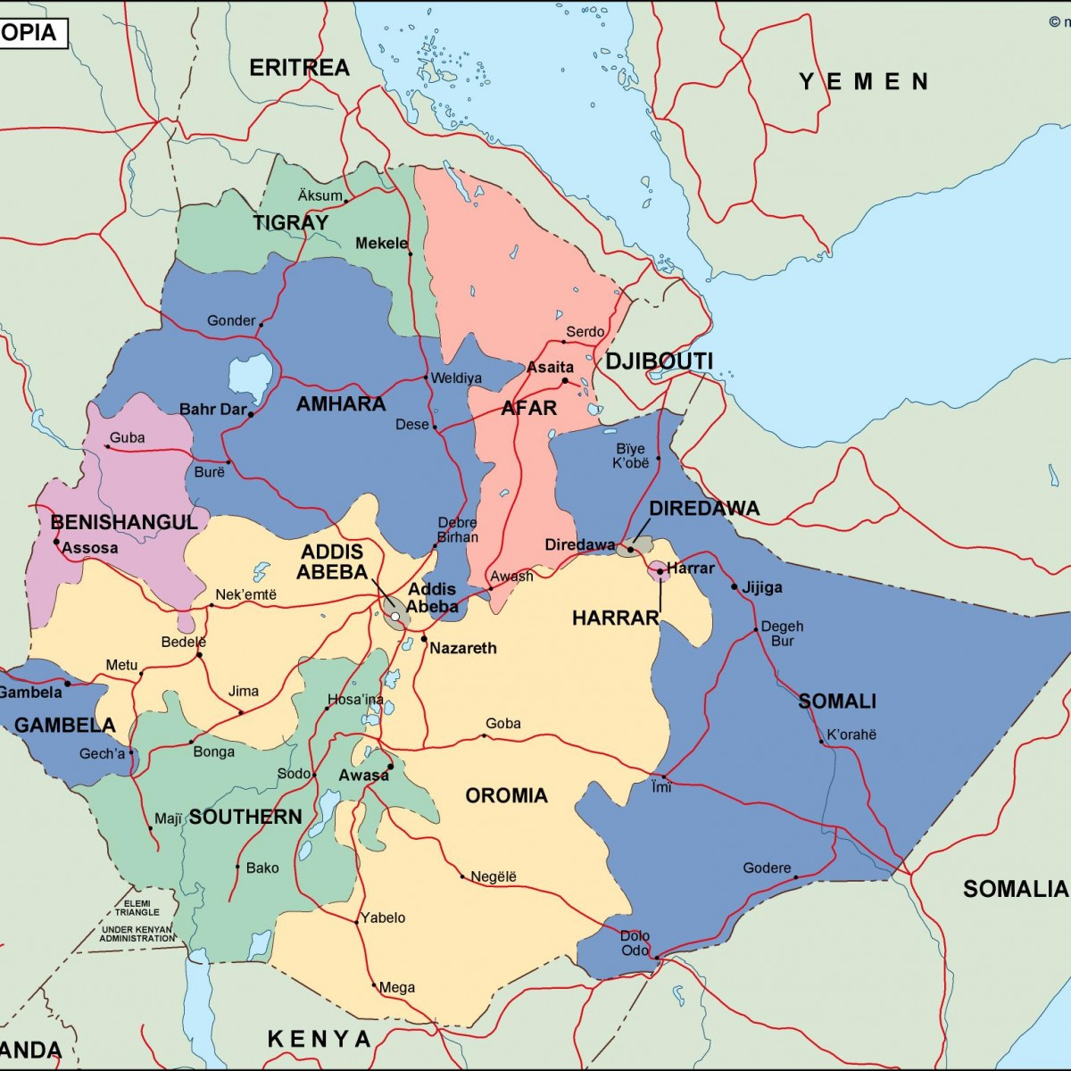 ethiopia political map. Vector Eps maps. Eps Illustrator Map ...