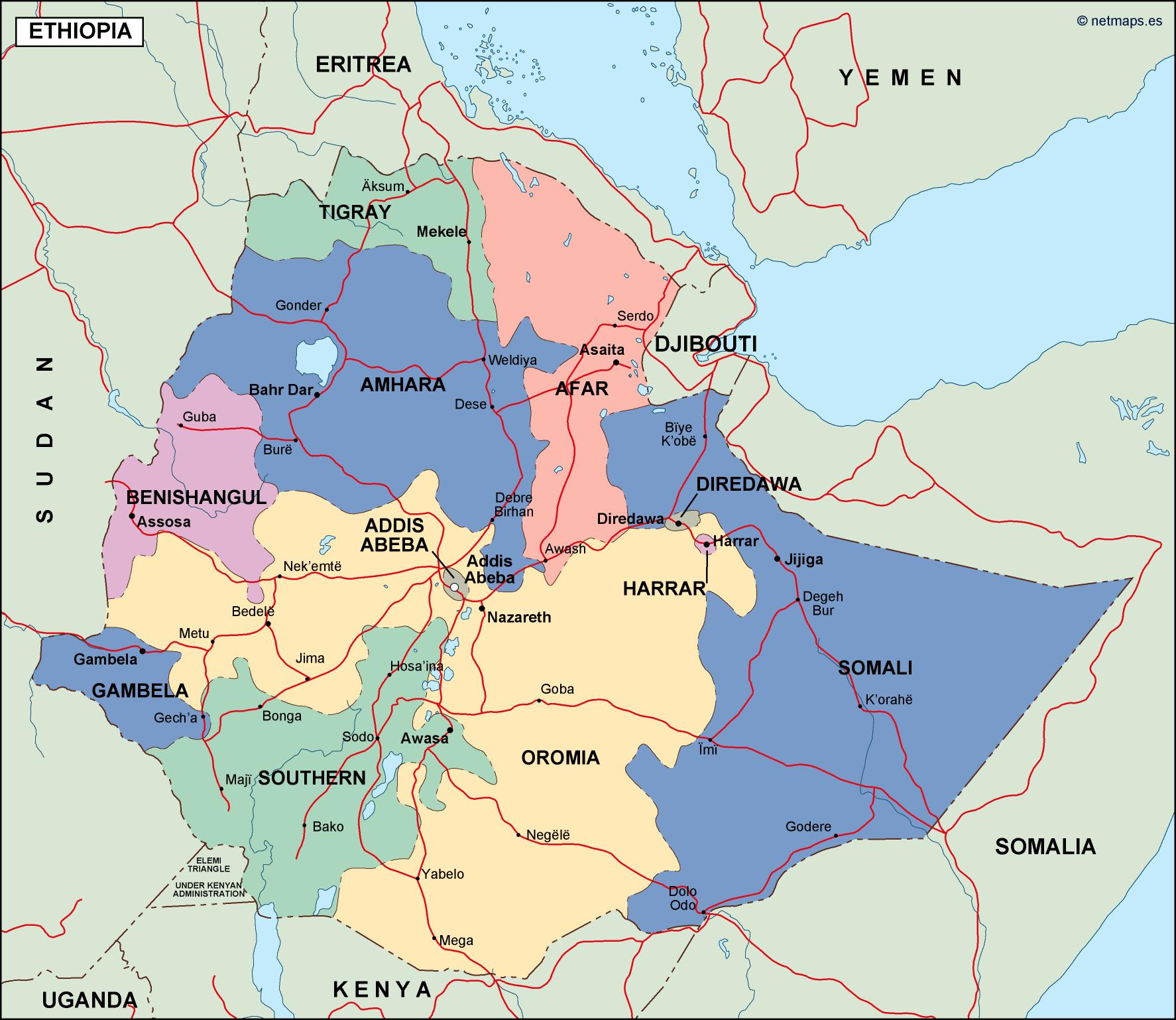 Picture of: Ethiopia Political Map Vector Eps Maps Eps Illustrator Map Vector World Maps