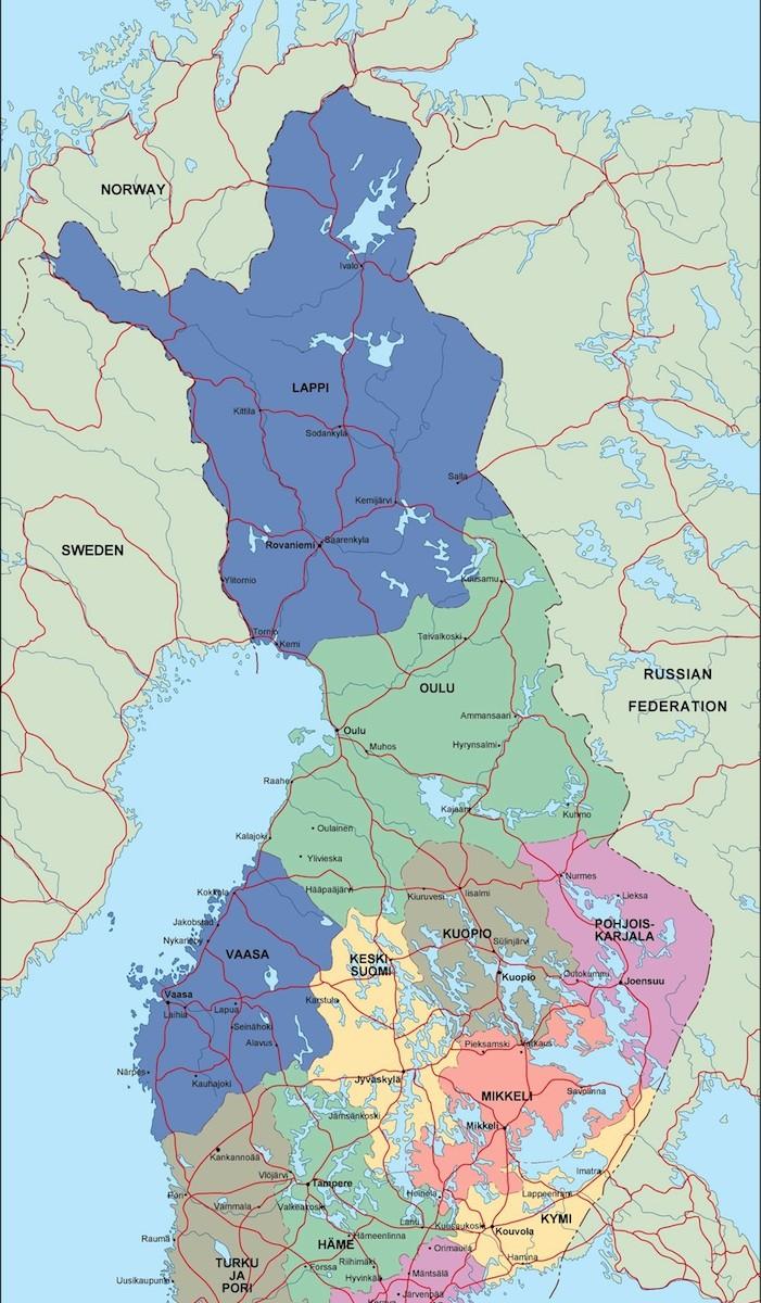 Finland Political Map Illustrator Vector Eps Maps Eps Illustrator