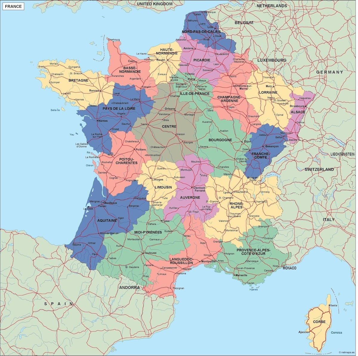 France Map Of The World.France Political Map Illustrator Vector Eps Maps Eps Illustrator