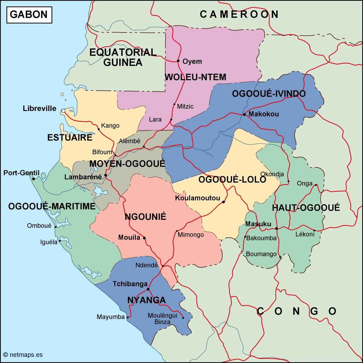 gabon political map on bismarck archipelago on map, eastern africa on map, burkina faso on map, saint vincent and the grenadines on map, uganda on map, kingdom of bahrain on map, republic of georgia on map, botswana on map, northern rhodesia on map, mauritius on map, benelux on map, brazilia on map, people's republic of china on map, british somaliland on map, gambia on map, tasmania australia on map, west indies islands on map, german southwest africa on map, sudan on map, lesotho on map,