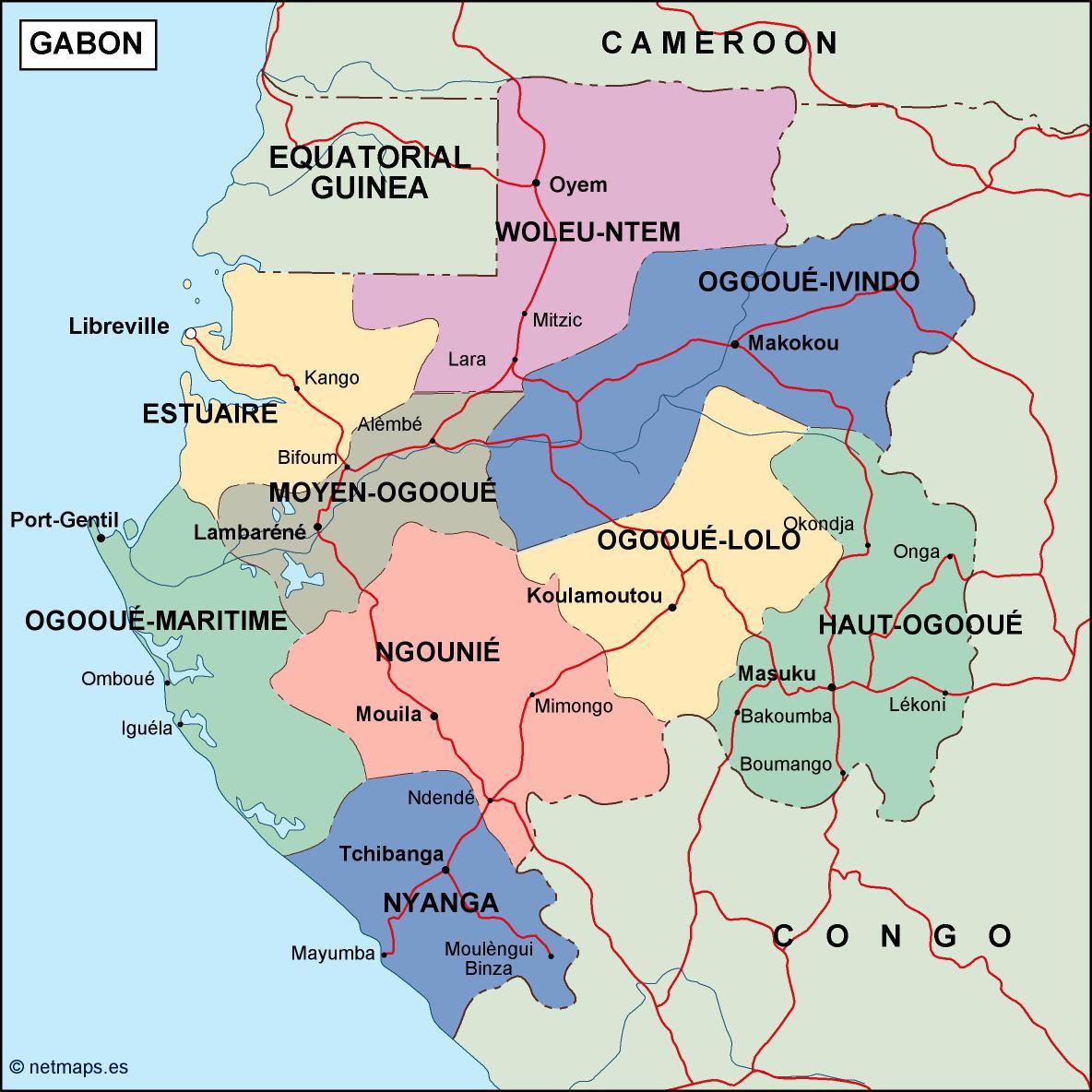 gabon political map on namibia map, spain map, egypt map, haiti map, zaire map, mali map, swaziland map, cape verde map, tunisia map, congo map, botswana map, niger map, mozambique map, algeria map, angola map, french map, africa map, morocco map, bangladesh map, libreville map, sudan map, kenya map, ethiopia map, libya map, grenada map, uganda map, madagascar map, senegal map, the gambia map, liberia map, rwanda map, republique centrafricaine map, chad map, ghana map, malawi map, zambia map,