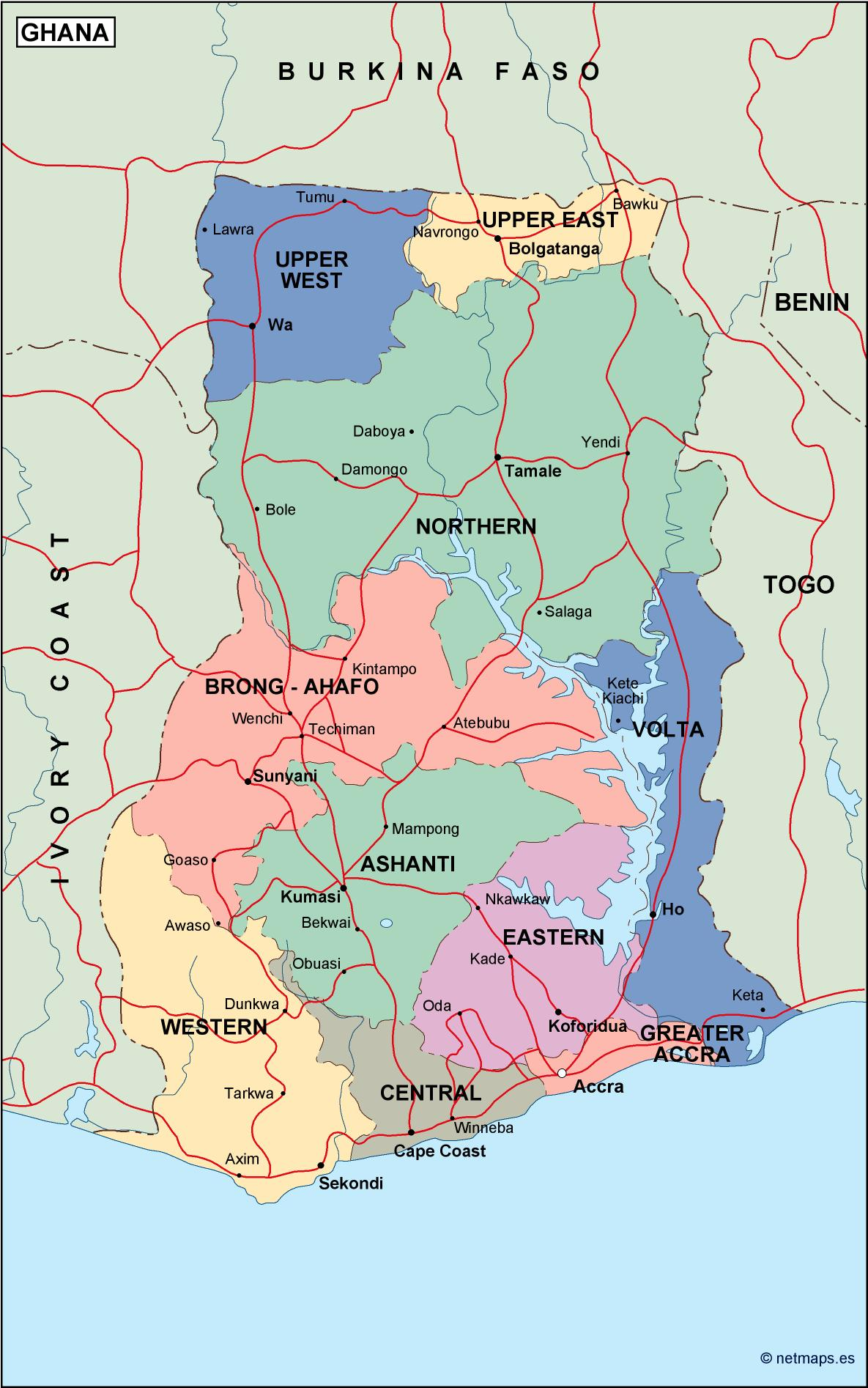 digital map of Ghana map of Ghana maps of Ghana Vector Wall Maps