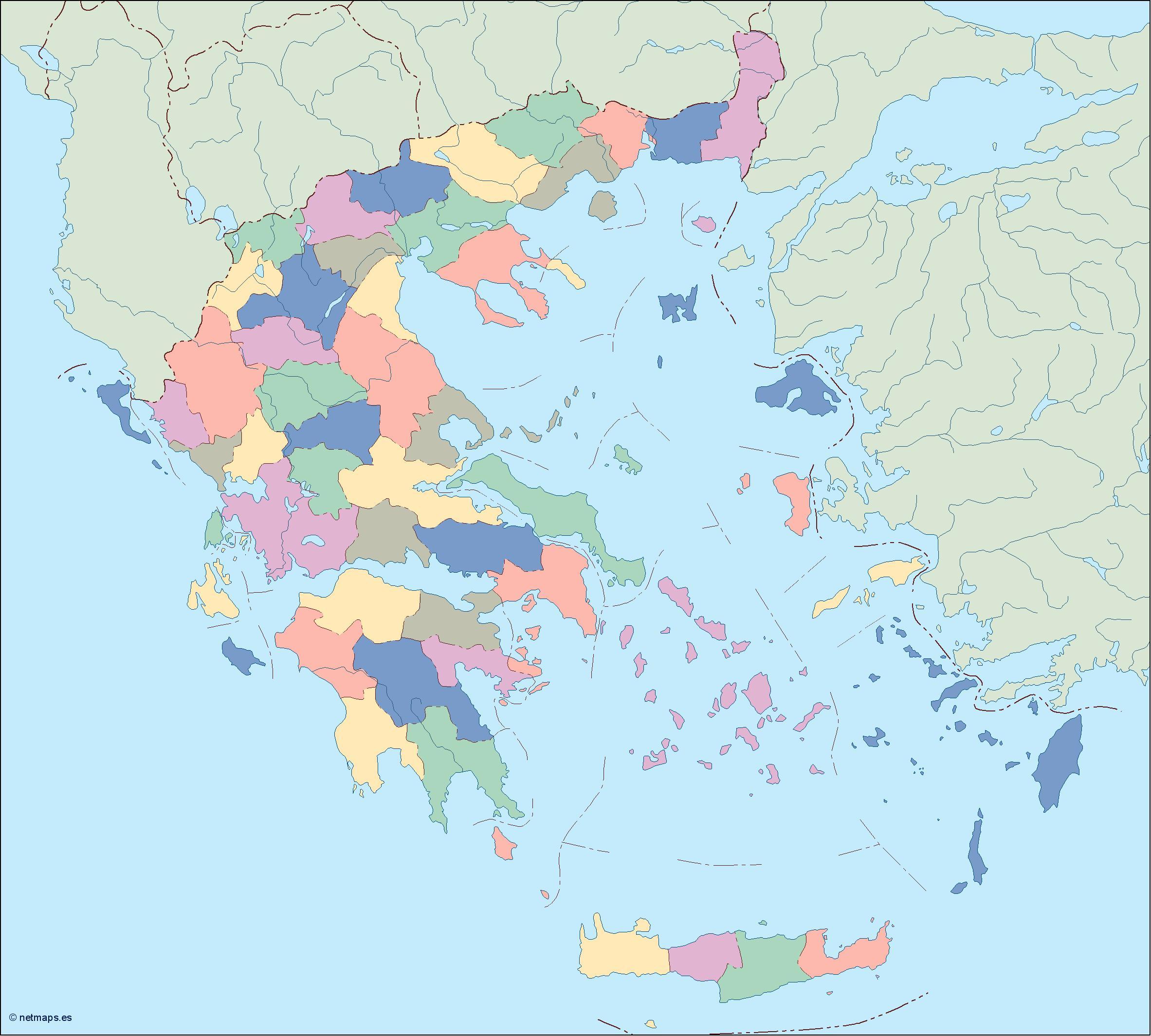 greece blind map