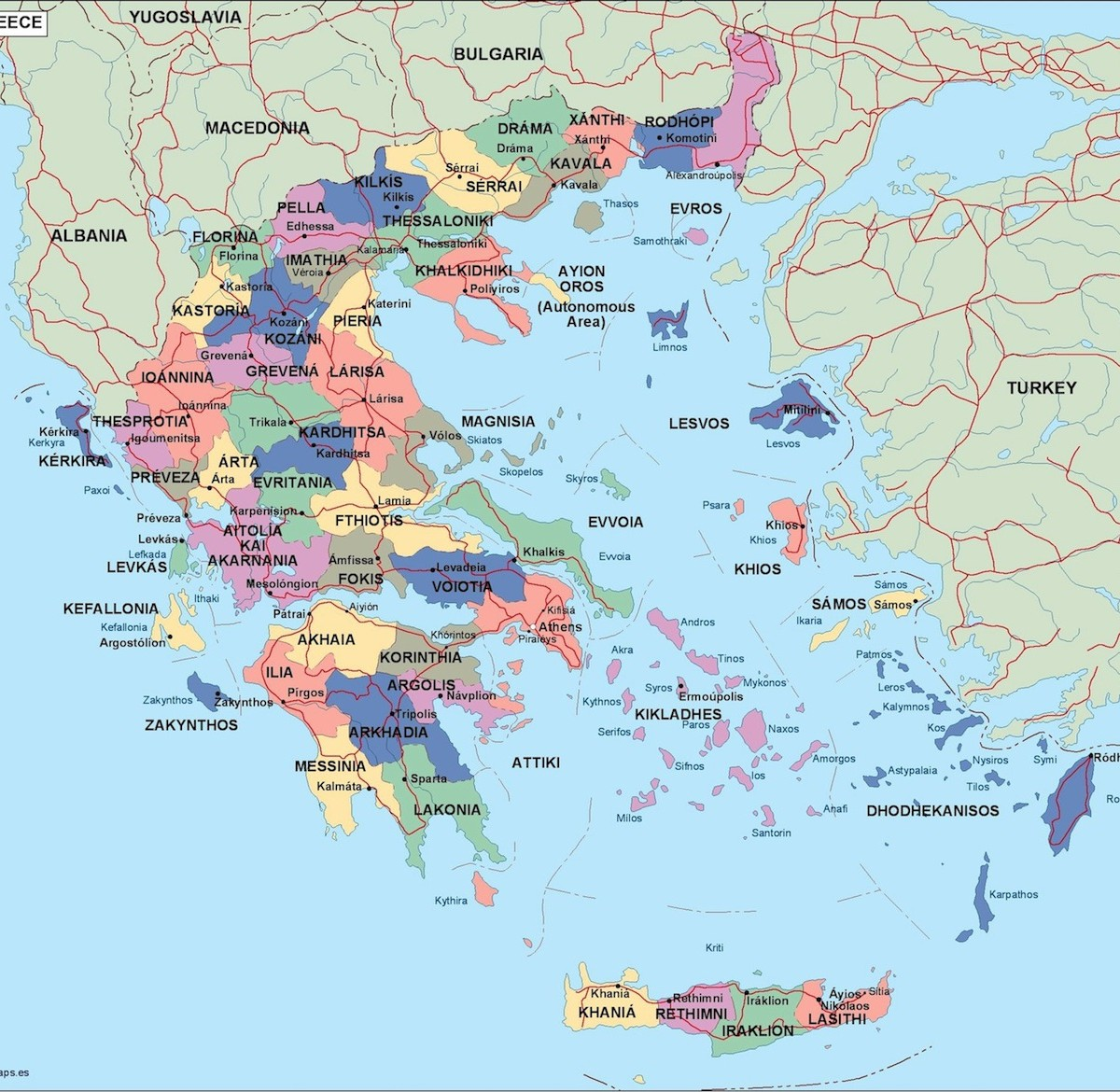 greece political map Illustrator Vector Eps maps Eps Illustrator