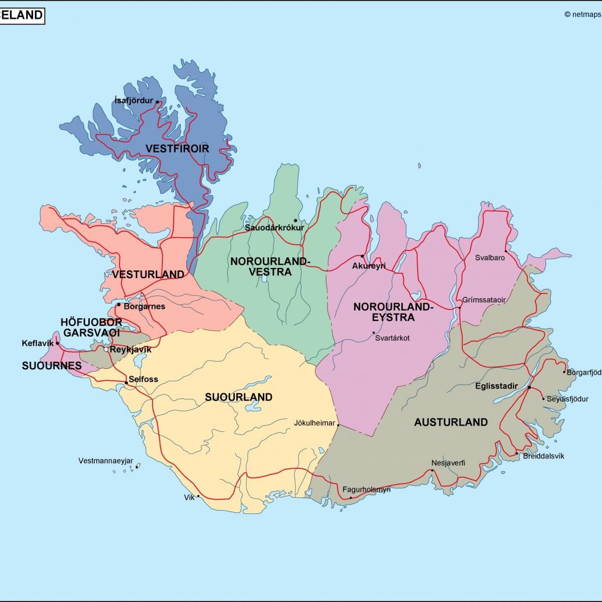 Iceland Political Map Illustrator Vector Eps Maps Eps - Iceland map world