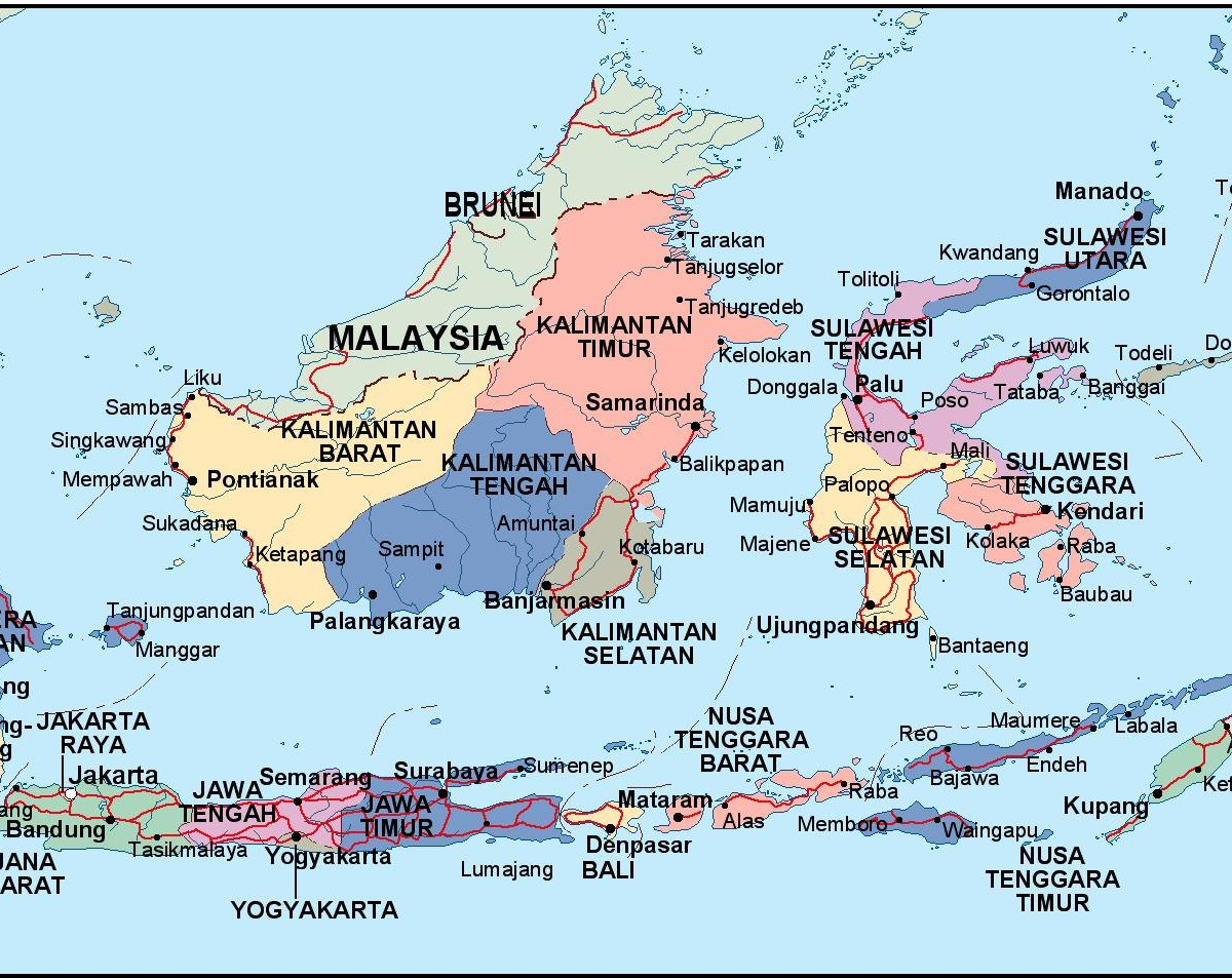 Indonesia Political Map Eps Illustrator Map Vector World Maps