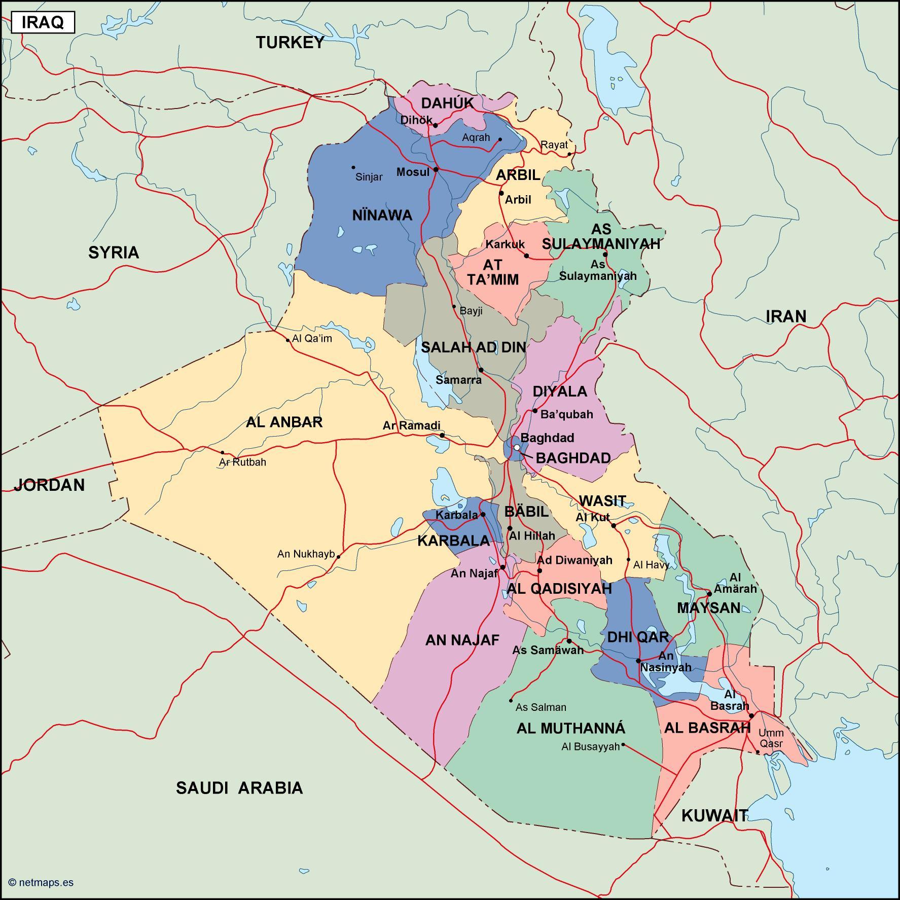 iraq political map. Eps Illustrator Map | Vector World Maps