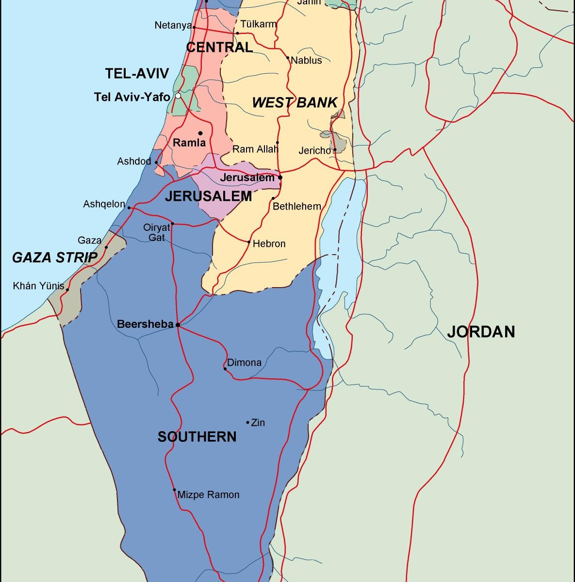 Find israel political map. Eps Illustrator Map for a project ...
