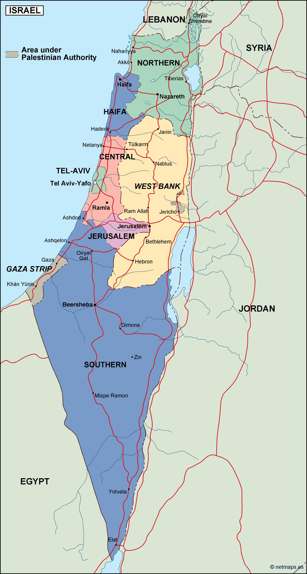 israel political map  eps illustrator map