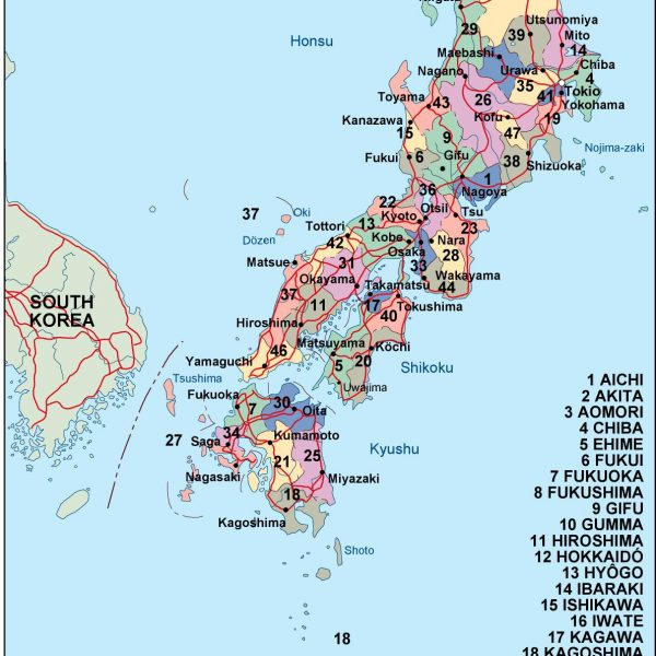 Political Division Of Country Map Vector Wall Maps Made In - Japan map political