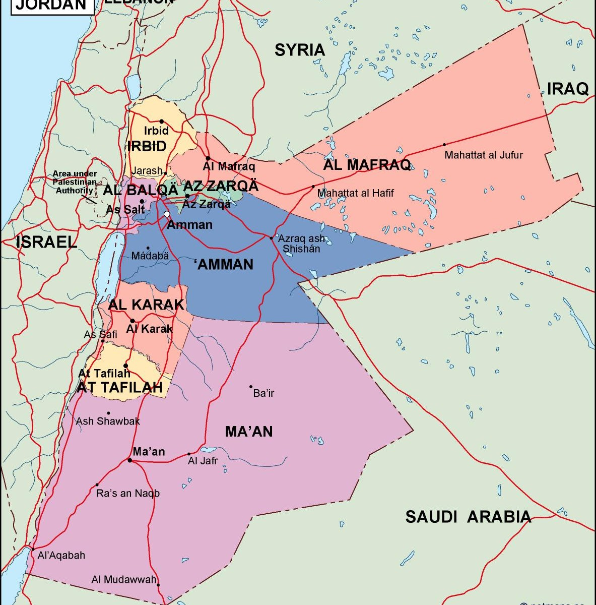 Jordan political map eps illustrator map our cartographers have jordan political map gumiabroncs Image collections