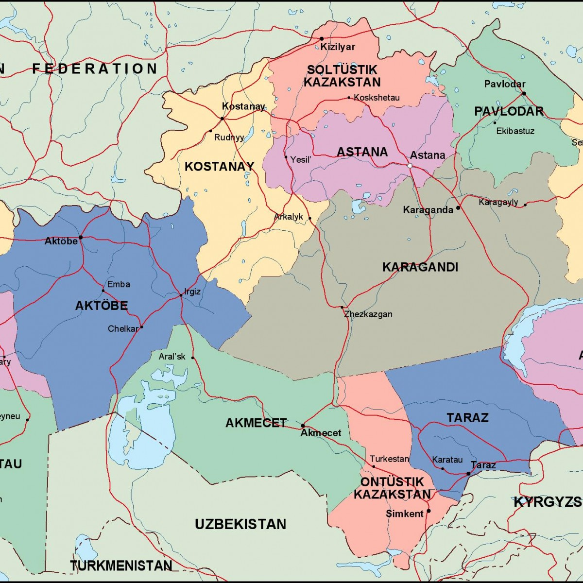 kazajstan political map. Eps Illustrator Map | Vector World Maps on