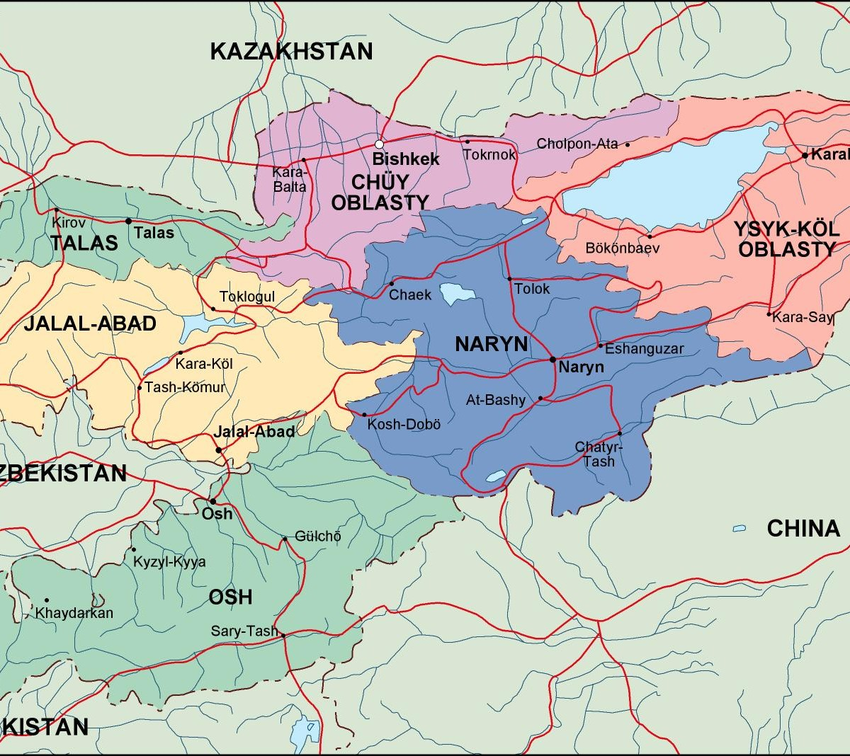 kirgizistan political map. Eps Illustrator Map
