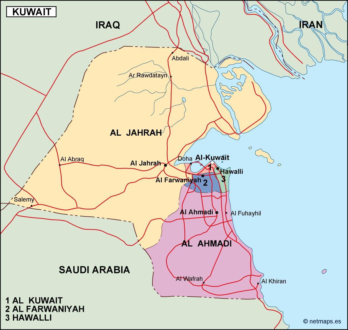 Kuwait Political Map Eps Illustrator Map Vector World Maps