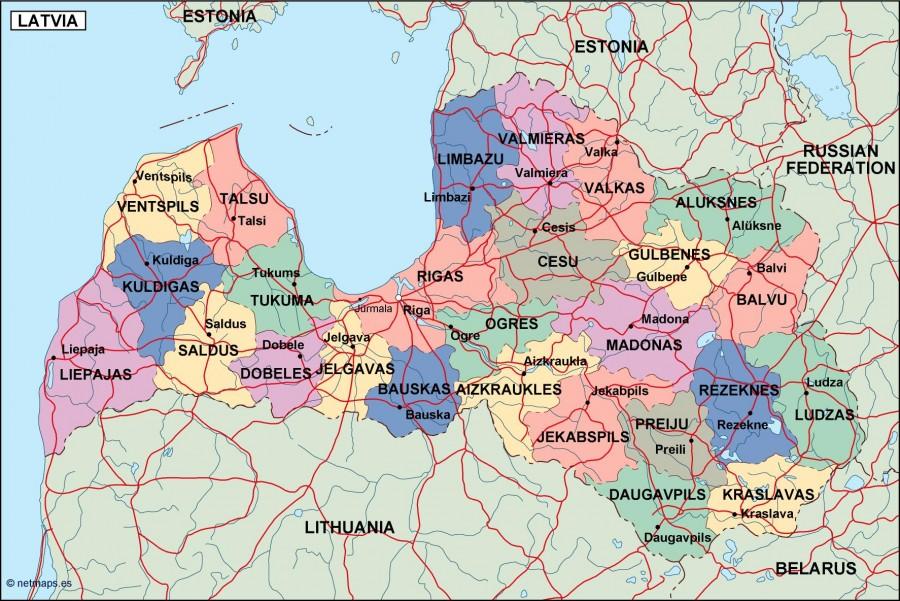 latvia political map Illustrator Vector Eps maps Eps Illustrator