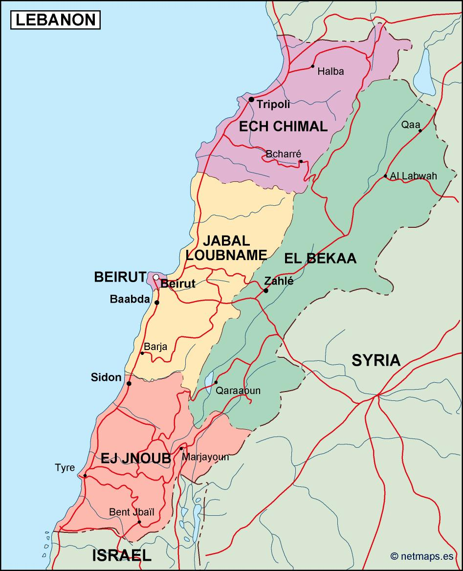 lebanon political map Eps Illustrator Map Our cartographers have