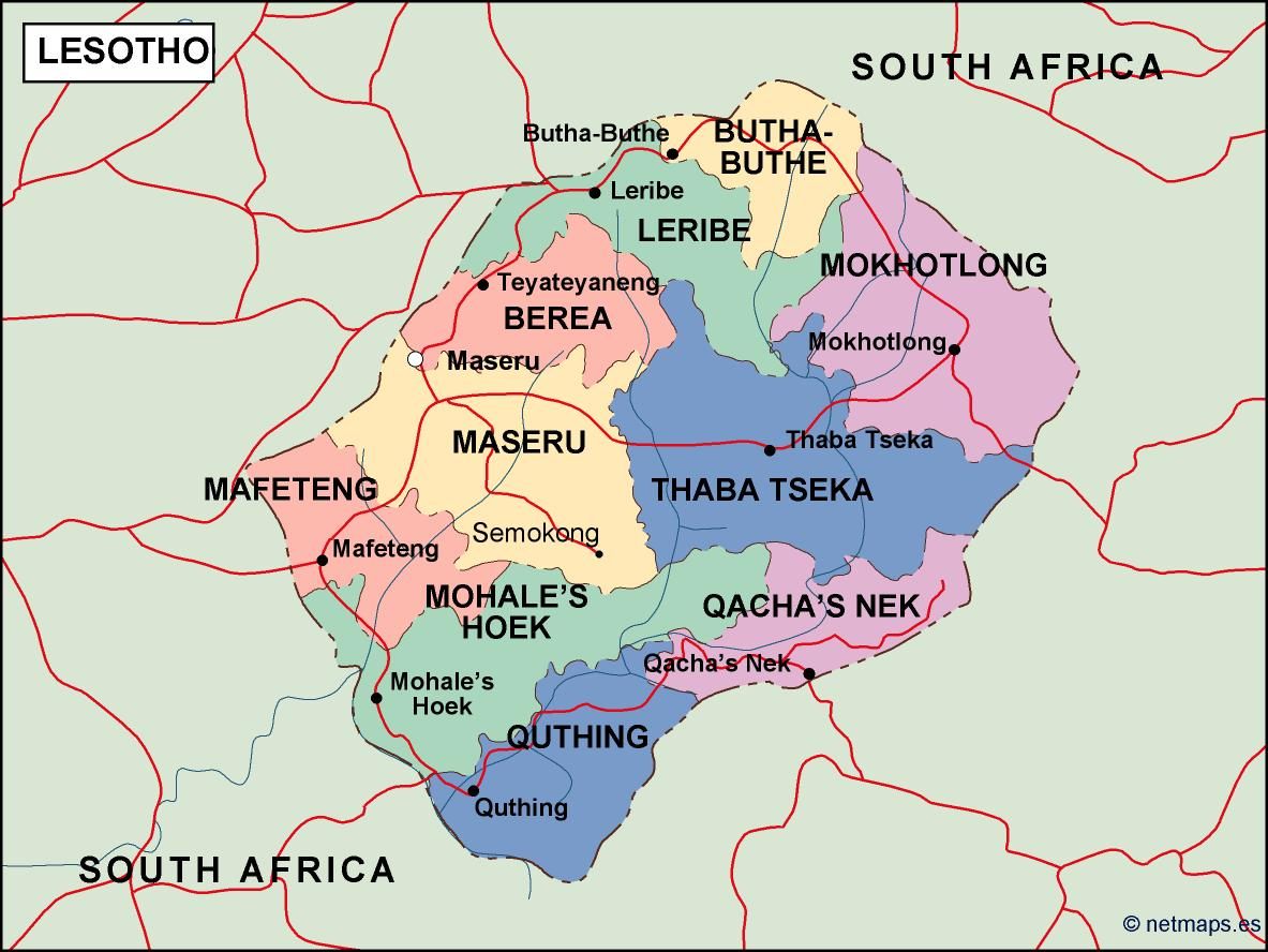 Lesotho Political Map Vector Eps Maps Eps Illustrator Map Our - Lesotho maps with countries