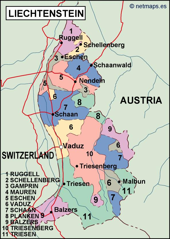 Liechtenstein Political Map Illustrator Vector Eps Maps Eps - Liechtenstein map