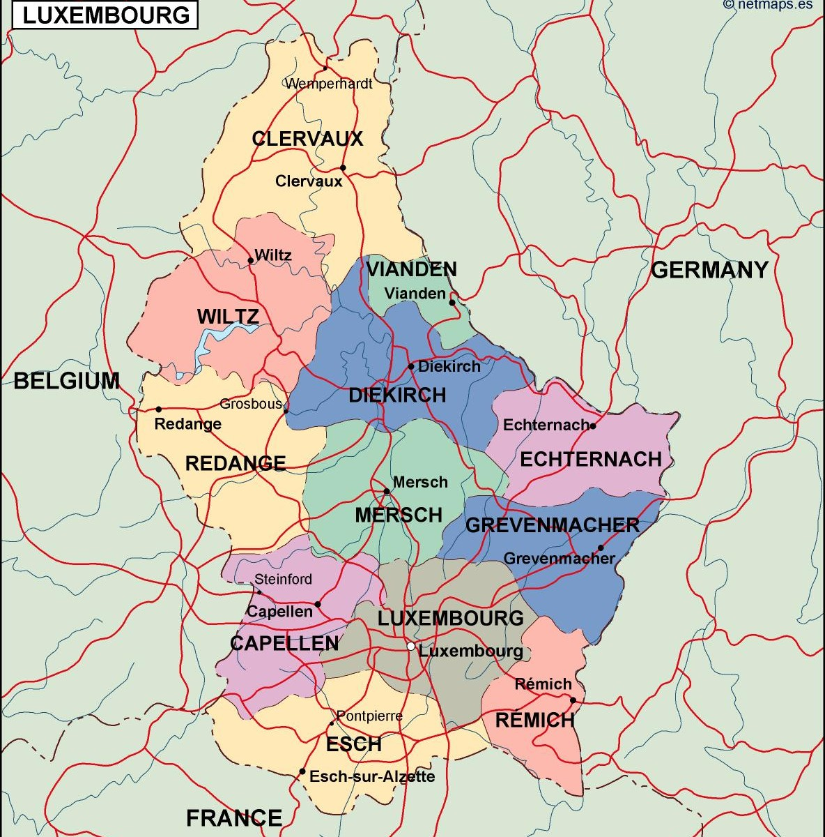 luxembourg political map Illustrator Vector Eps maps Eps
