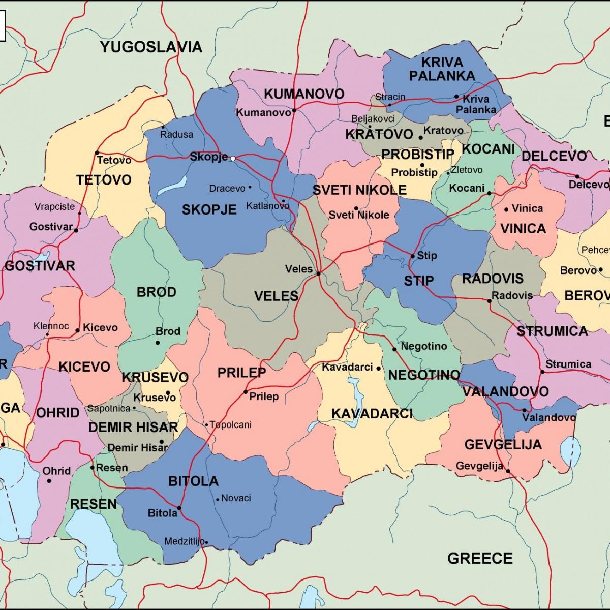 macedonia political map Illustrator Vector Eps maps Eps