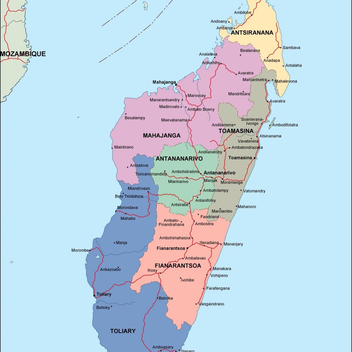 madagascar political map. Vector Eps maps. Eps Illustrator Map ...