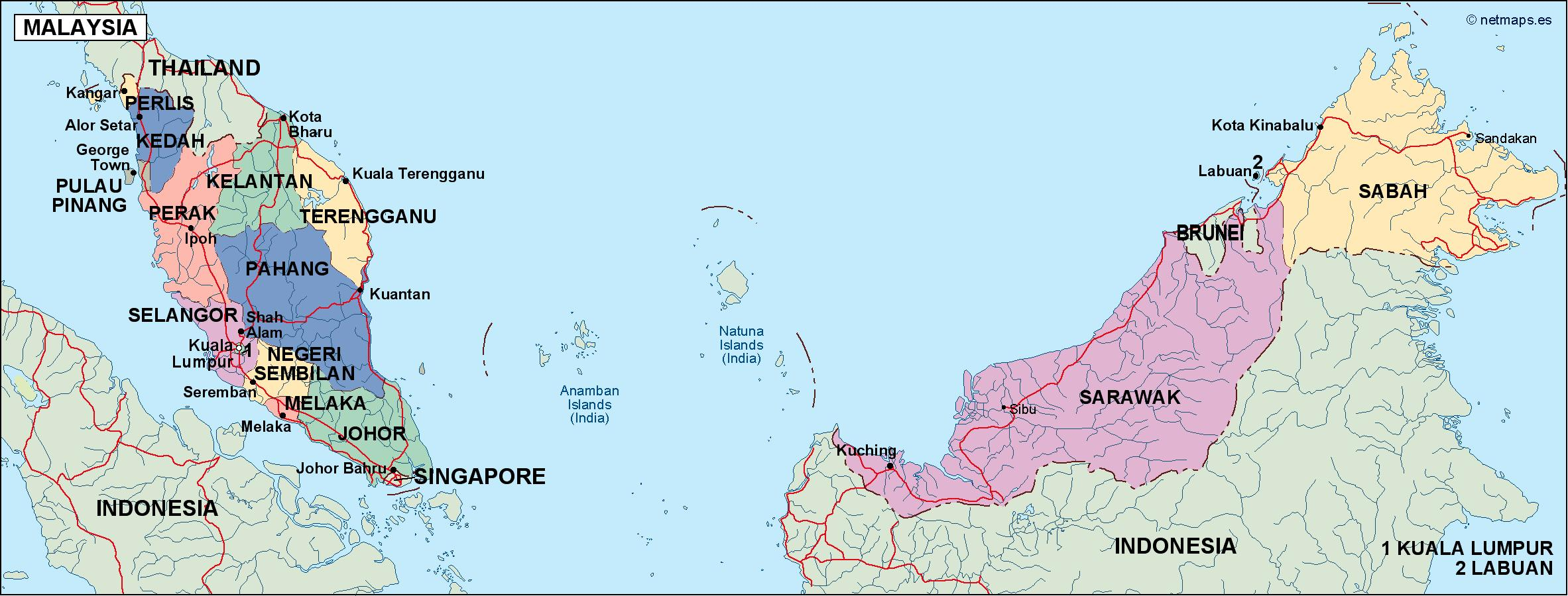 Picture of: Malaysia Political Map Eps Illustrator Map Vector World Maps