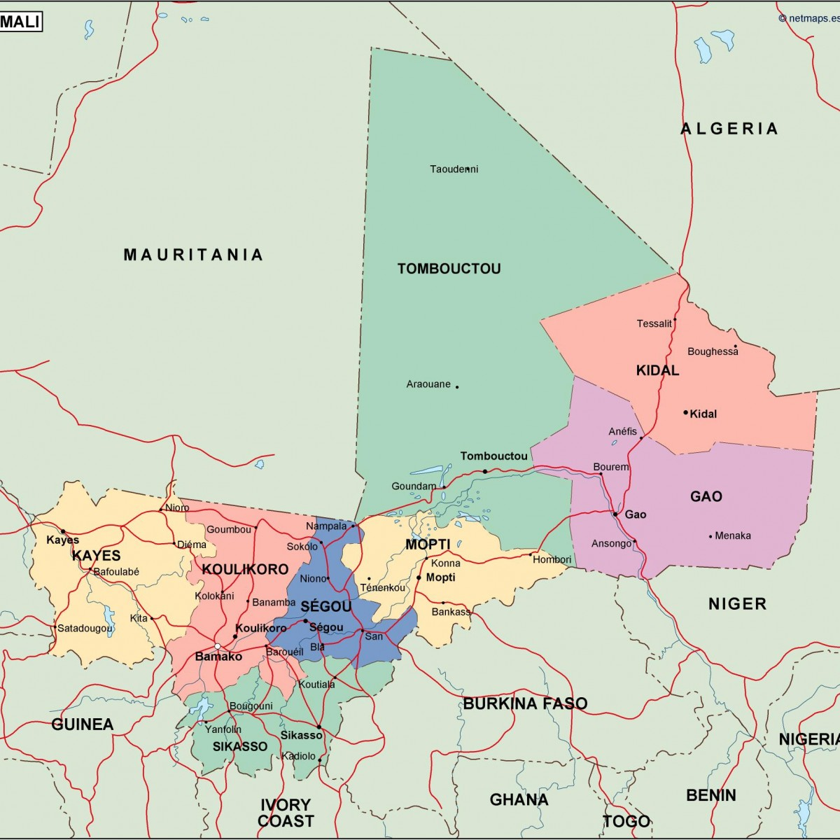 Mali Political Map Vector Eps Maps Eps Illustrator Map Our - Map of mali