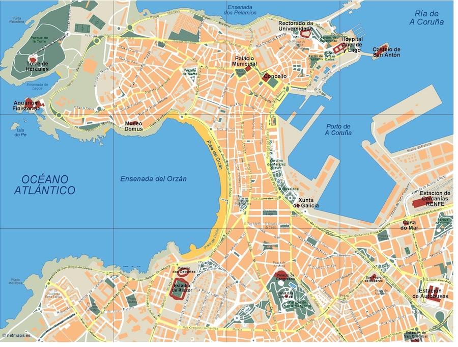 A Coruña Mapa España.Mapa A Coruna