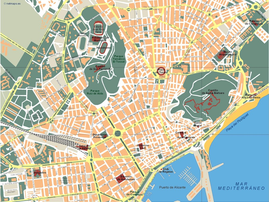 Alicante Vector map Eps Illustrator Map Our cartographers have