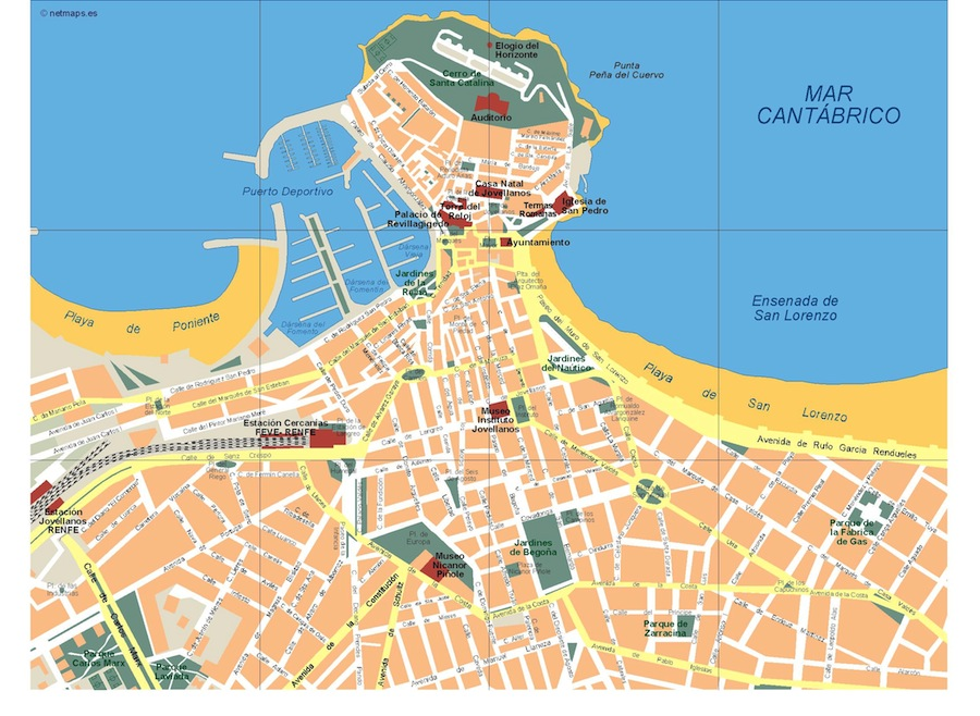Gijon Vector map Eps Illustrator Map Our cartographers have made
