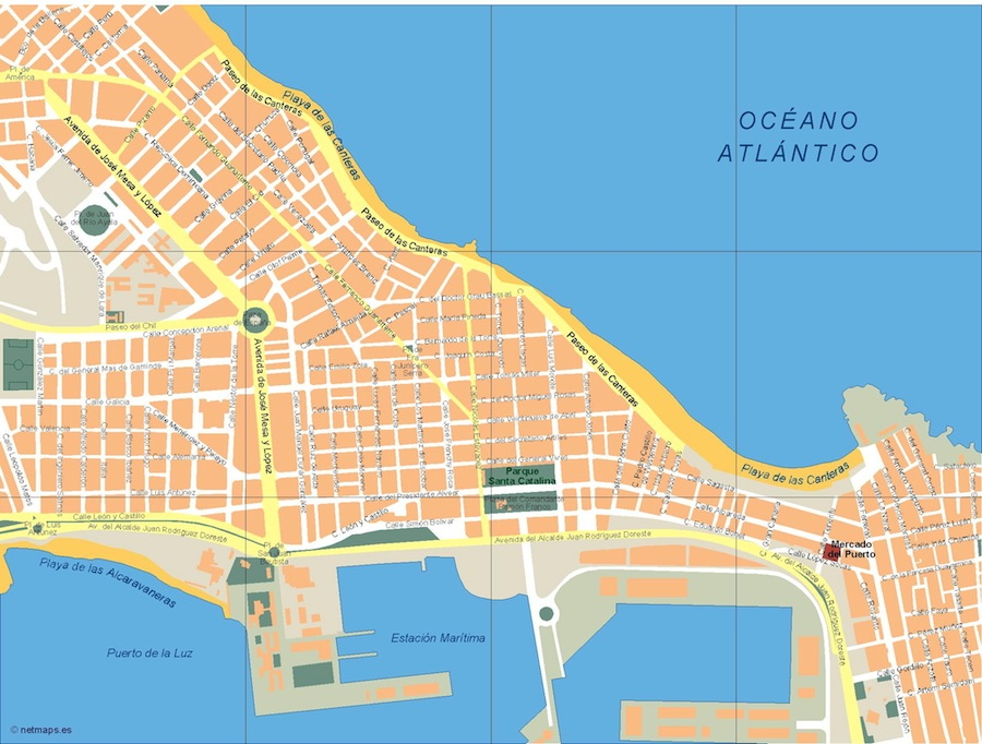 las palmas mapa Las Palmas de Gran Canaria Vector map. Eps Illustrator Map   A  las palmas mapa