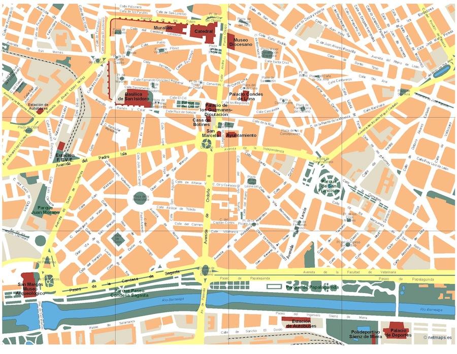 Mapa Leon Vector Maps