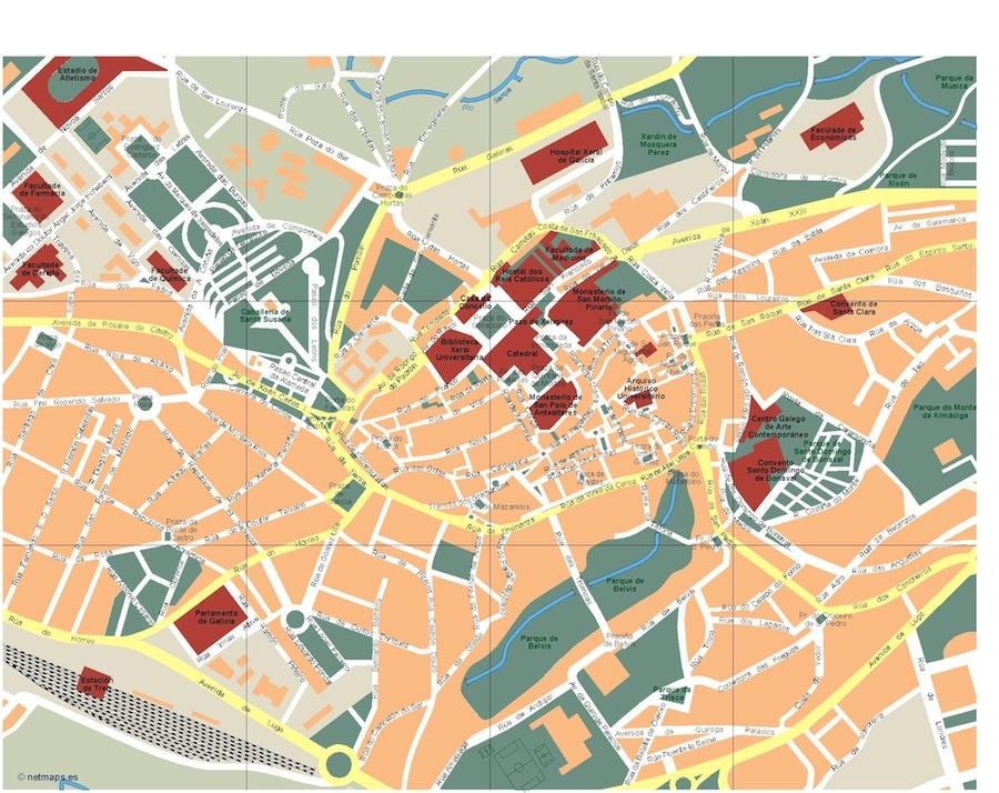 Callejero Mapa De Santiago De Compostela.Mapa Santiago De Compostela