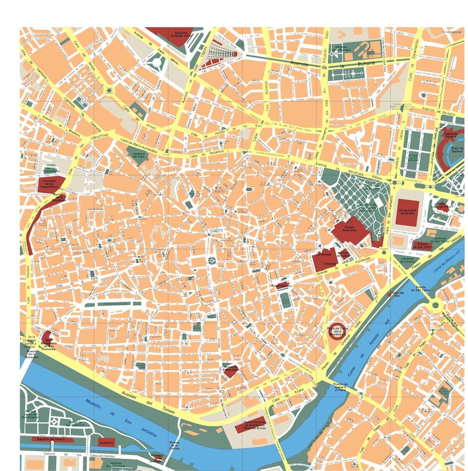 Sevilla Vector Map Eps Illustrator Map Vector World Maps