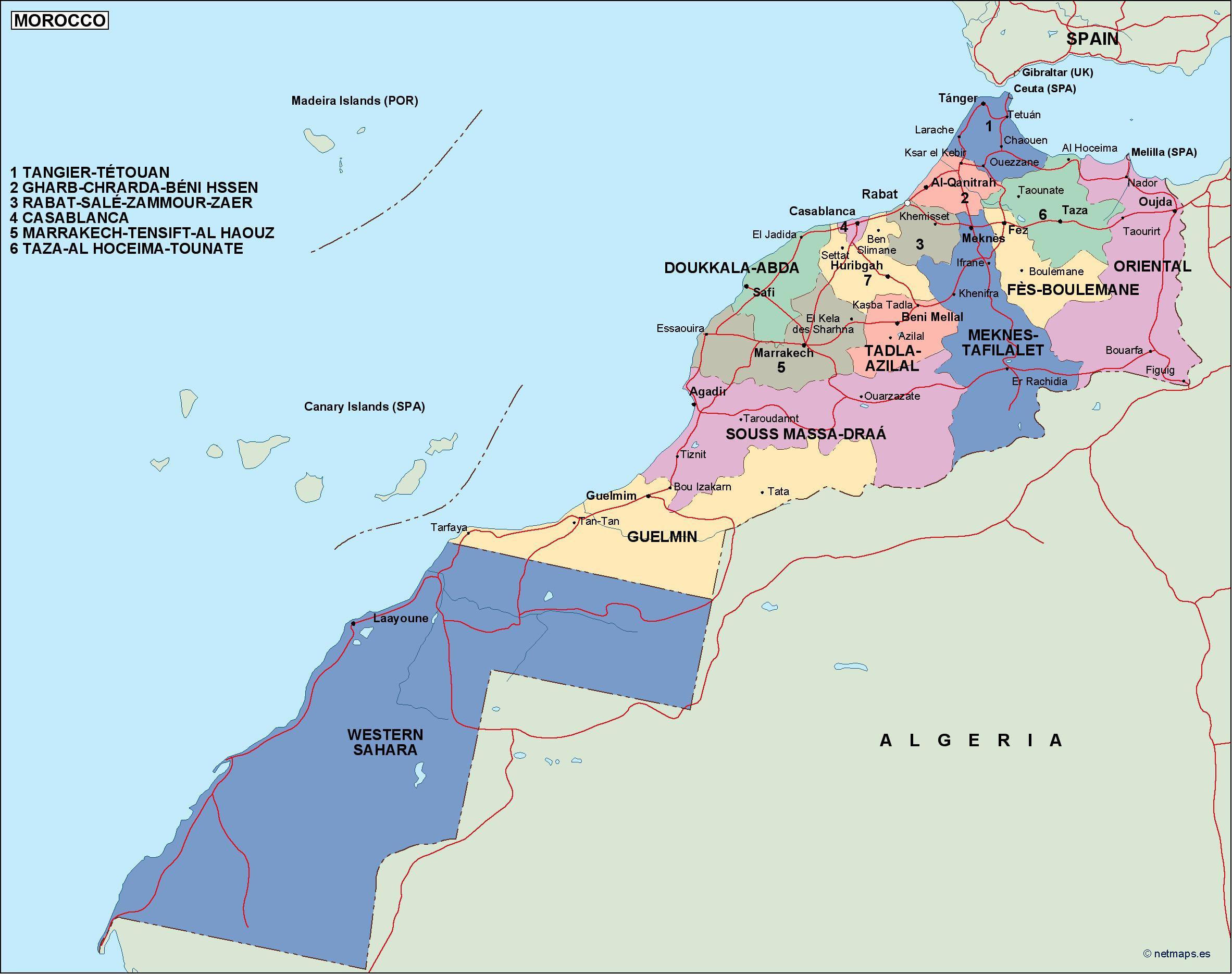 morocco political map on johannesburg map, key largo map, algeria map, timbuktu map, potsdam map, dubai map, morocco map, tripoli map, western sahara map, marrakesh map, marrakech map, africa map, algiers map, dar es salaam map, cape town map, damascus map, accra map, salerno map, oran map, lima map,