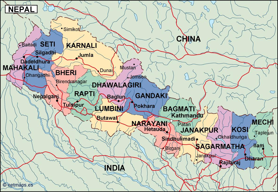 nepal political map Eps Illustrator Map Our cartographers have