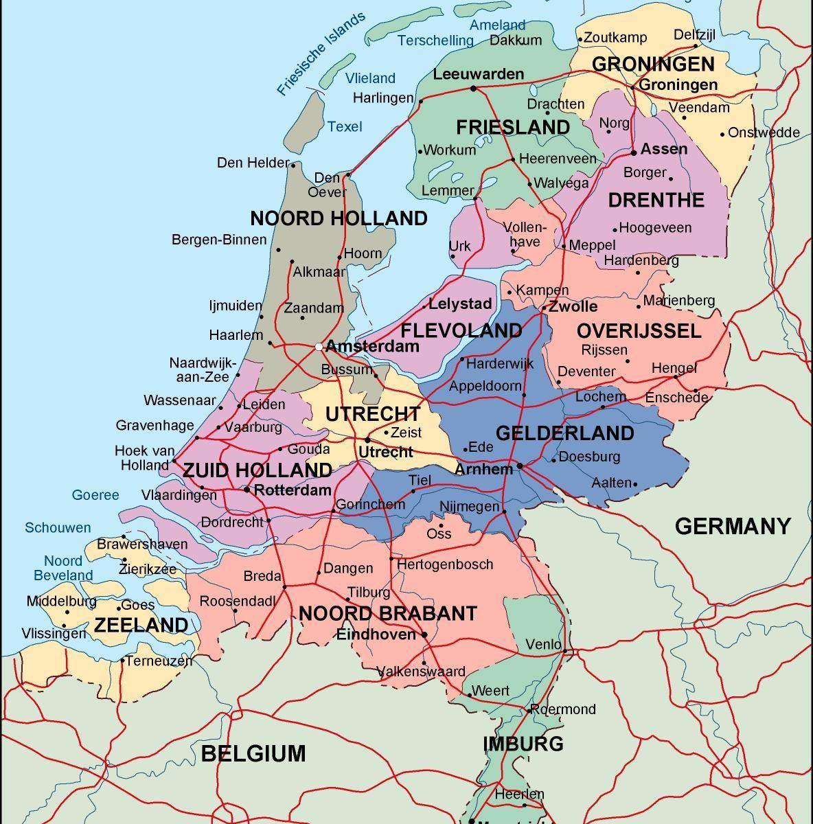 netherlands political map. Illustrator Vector Eps maps. Eps ...