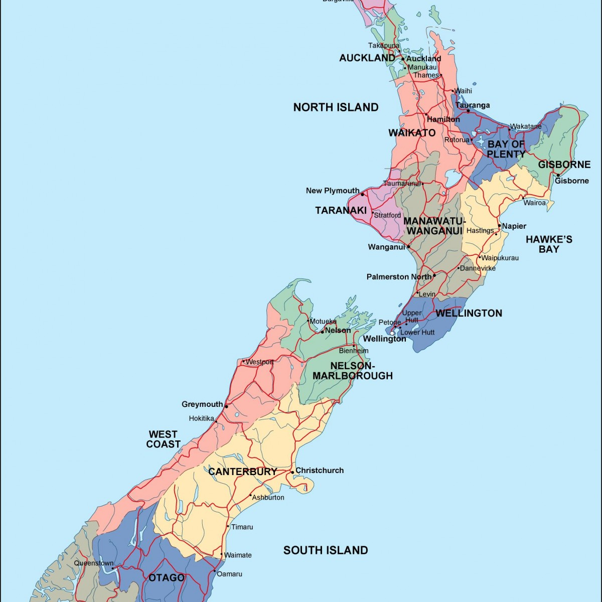 Show Map Of New Zealand.New Zealand Political Map
